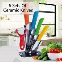 6pcs/Set Fruit Meat Ceramic Knife Set 3 4 5 6 Inch + Peeler + Knife Holder Top Quality Kitchen Knives Set