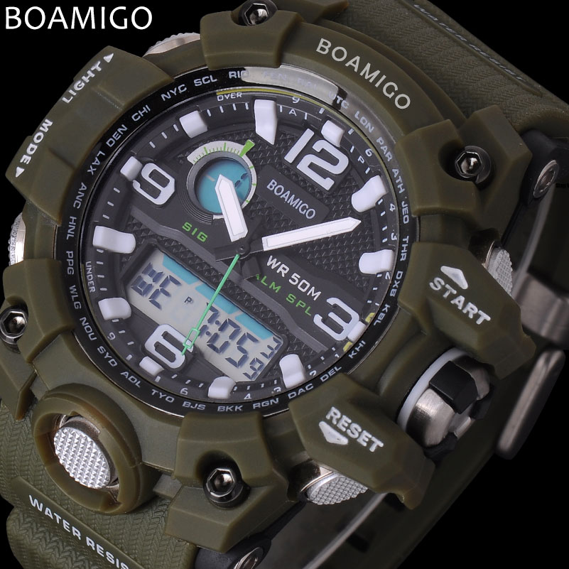Prix pour Hommes sport montres BOAMIGO marque LED numérique montres militaires analogique quartz montre vert bracelet en caoutchouc 50 M étanche reloj hombre
