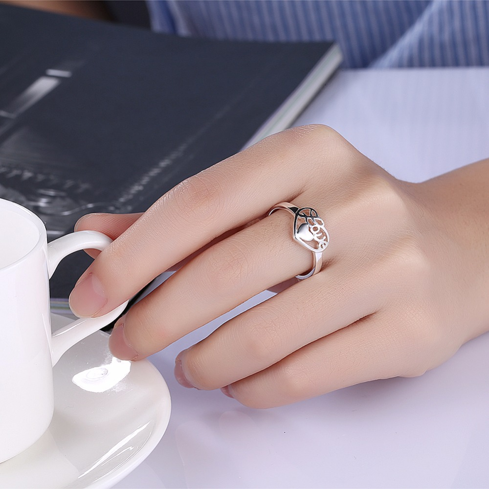 GNIMEGIL New Silver Color Rings for Women Hollow Love Heart Design ...
