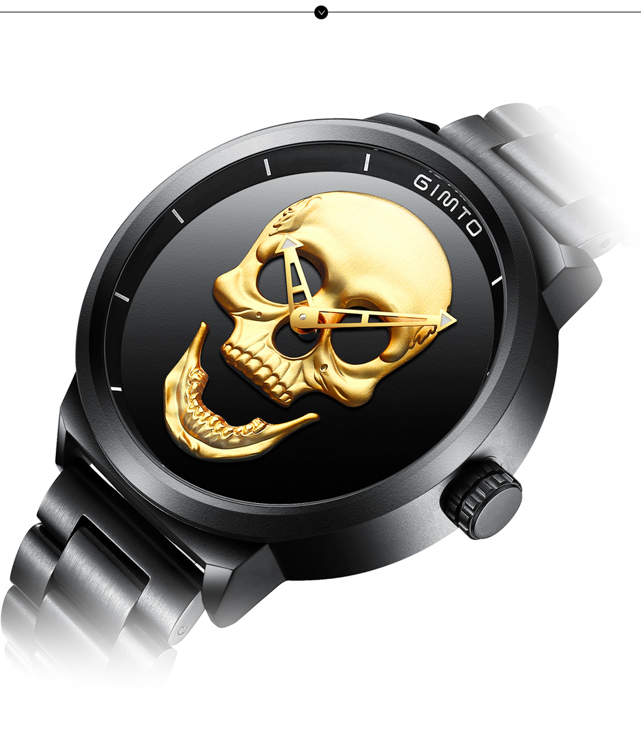2018 Cool Punk 3D Skull Men Watch Brand GIMTO Luxury Steel Gold Black Vintage Quartz Male Watches sport clock Relogio Masculino 15