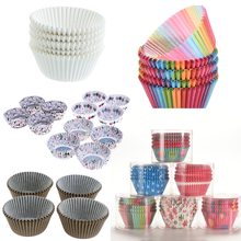 100 PCS/Set Muffin Cupcake Papier Tassen Kuchen Formen Cupcake Liner Backen Muffin Box Tasse Fall Party Tablett Kuchen form Dekorieren Werkzeuge(China)