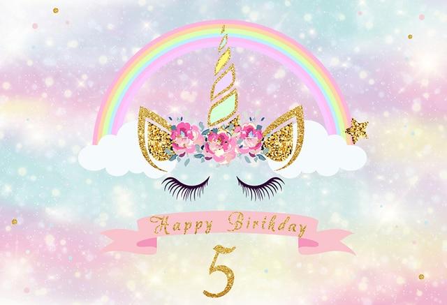 Unicorn Birthday Party Background Colorful Rainbow Dessert