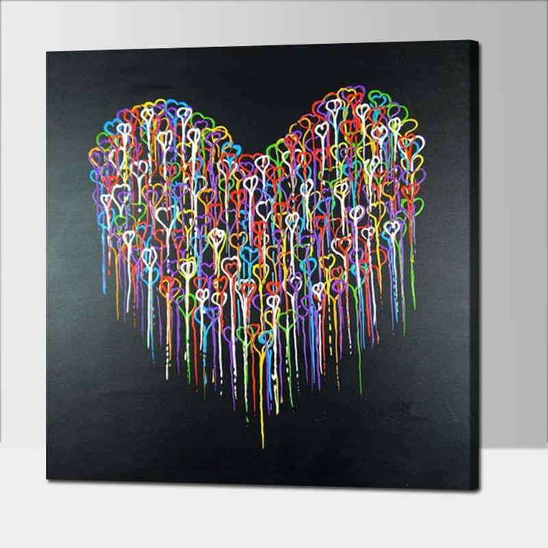 Colorful Abstract Heart Oil Paintings Hand Painted