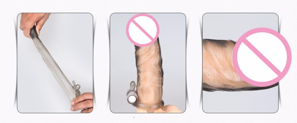 Please me Vibrating Penis sleeve Penis enlargement Penis extender Reusable Condoms bomba peniana pro extender Sex toys for men 7
