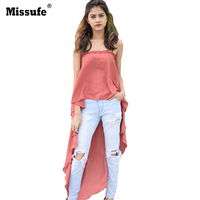 Missufe 7 Colors Sexy Strapless Camisole Women Tops 2017 Large Hem Irregular Fashion High Street Casual