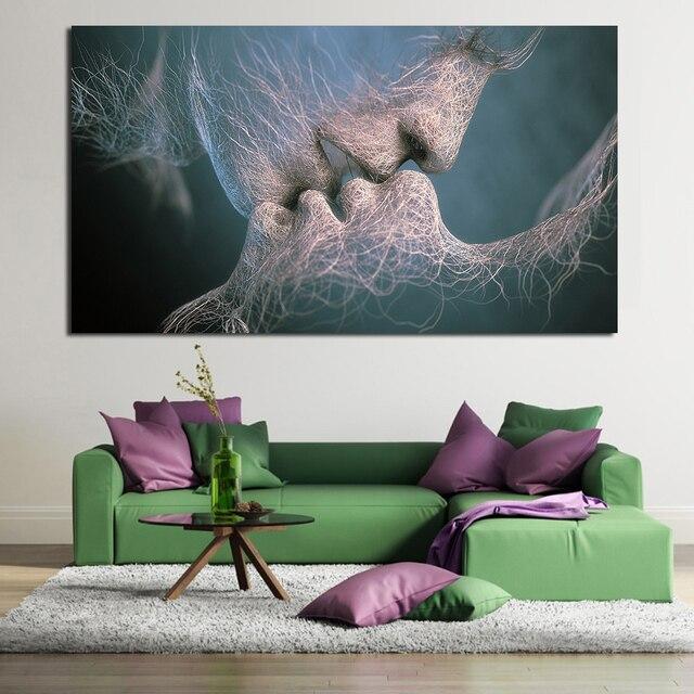 JQHYART Liebe Kuss Ölgemälde Leinwand Kunst Gemälde Für Wohnzimmer Wand  Kein Rahmen Dekorative Bilder