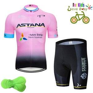 2020 Astana Children's Summer Cycling Shirt Set Boys Clothes Bike Shorts Kids Team Sets Bicycle Cycling Clothing