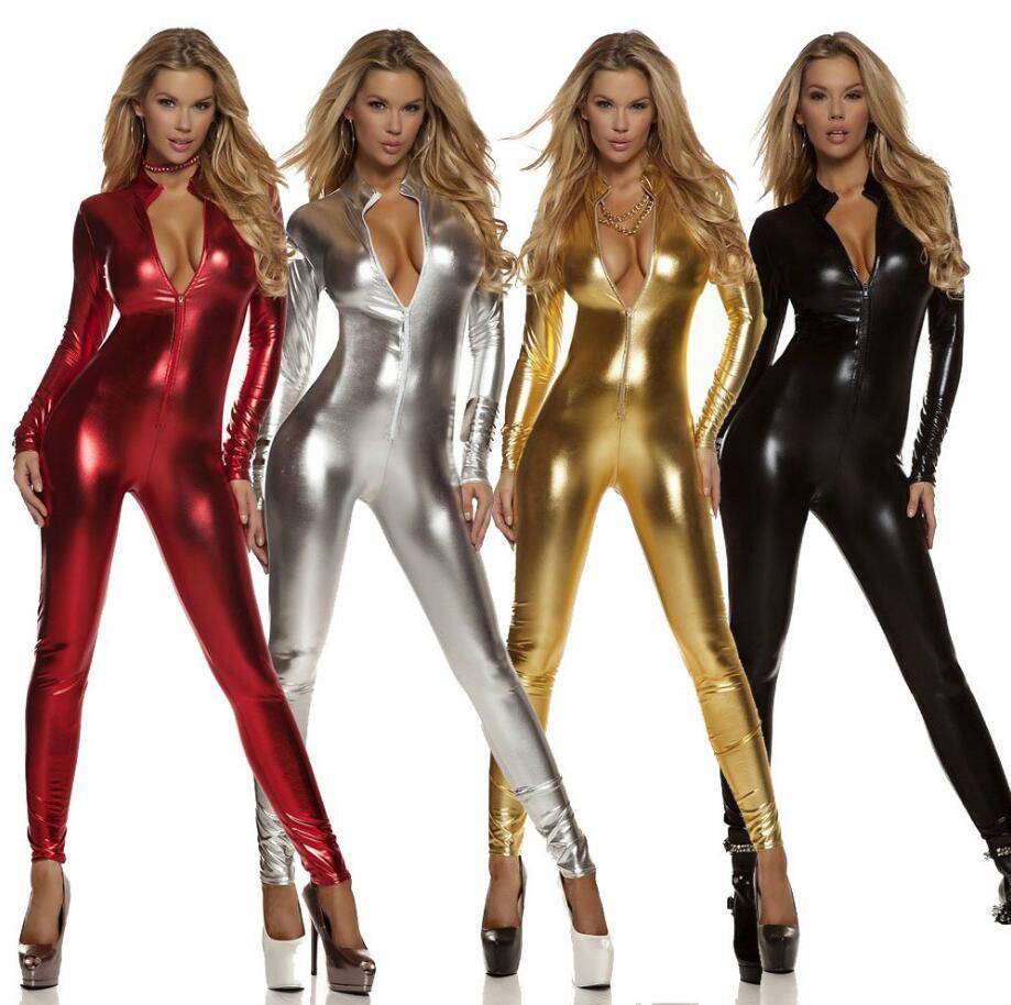 New Womens Long Sleeve Zentai Bodysuit Jumpsuit Sexy Black Shiny Latex Full Body Zentai Suit Lycra Spandex Zentai Catsuit