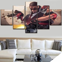 Modular Picture 5 Pieces On Canvas HD Printed Game Team Fortress 2 Role Painting For Modern Bedroom Or Living Room Home Decor