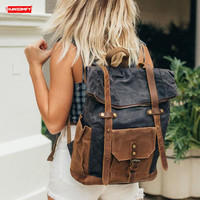 Retro Waterproof Women Backpack Travel Shoulder Bag Female Large Capacity Backpacks Computer Canvas with Crazy Horse Leather Big
