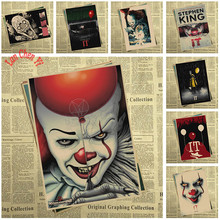 Película de terror Stephen King's It papel Kraft Poster Bar Café Vintage impresión de alta calidad dibujo core pintura decorativa