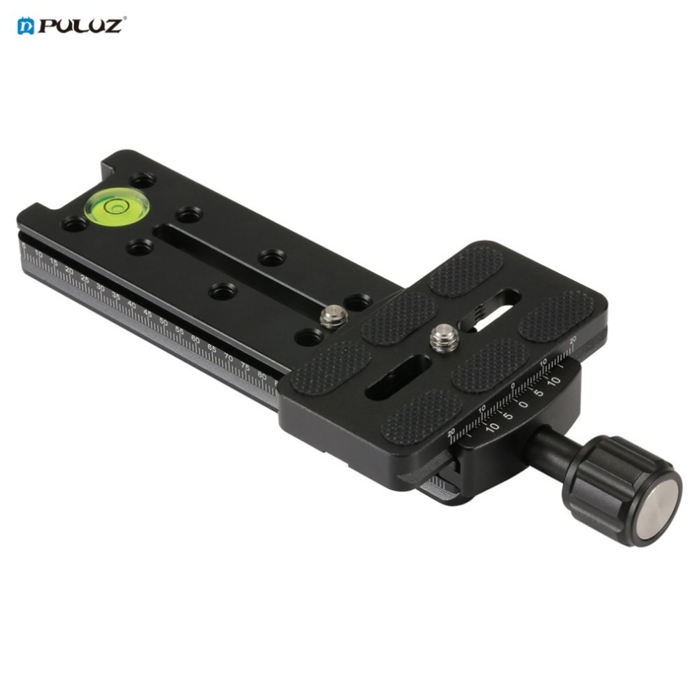 PULUZ Quick Release Plate for DSLR Camera Multifunctional 140mm Rail Nodal Slide Lightweight Aluminum Alloy with Bubble Level
