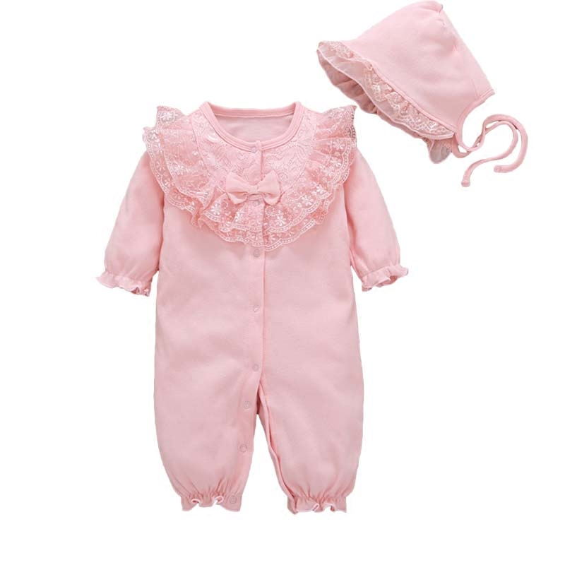 919be646c Spring Autumn Newborn Infant Baby Girl clothing Romper Lace Floral ...
