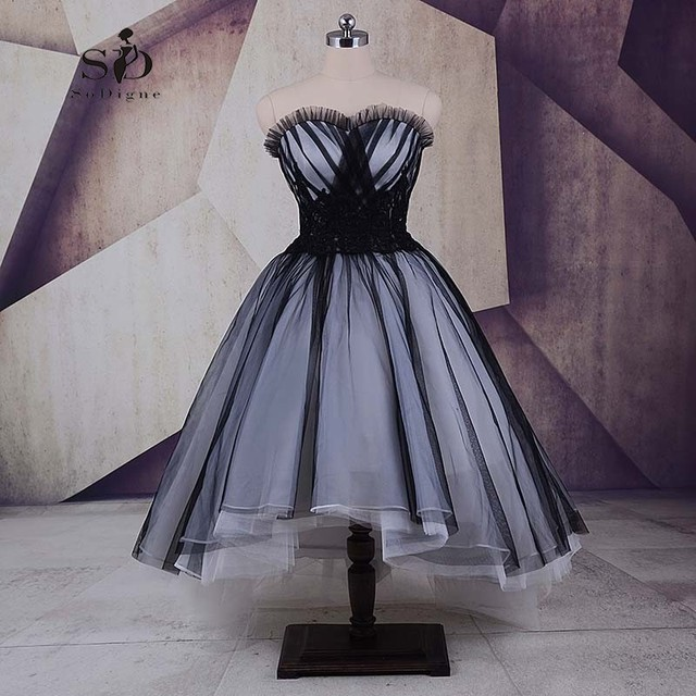 US $88.73 26% OFF|Graduation Dresses Long Hi Low Cheap Black Plus Size Prom  Dresses 2018 Lace up Lace Appliques A line Girls Dress To Party-in Prom ...