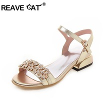 REAVE CAT Woman Flat Sandals Rhinestone glitter cystal sandal open toe strappy summer casual shoes silver pink gold big size 45