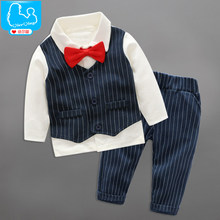 YiErYing 2Pcs Newborn Clothes Sets 2018 Fashion Party Bow Tie Gentleman Tops+Pants For Baby Boy Suits Photography Props
