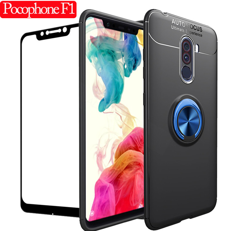 Car Holder Magnet Pocophone F1 Ring Phone Case for Xiaomi Pocophone F1 360 Cover Rotation Ring Stand Full Protection Case Glass in Fitted Cases from Cellphones Telecommunications