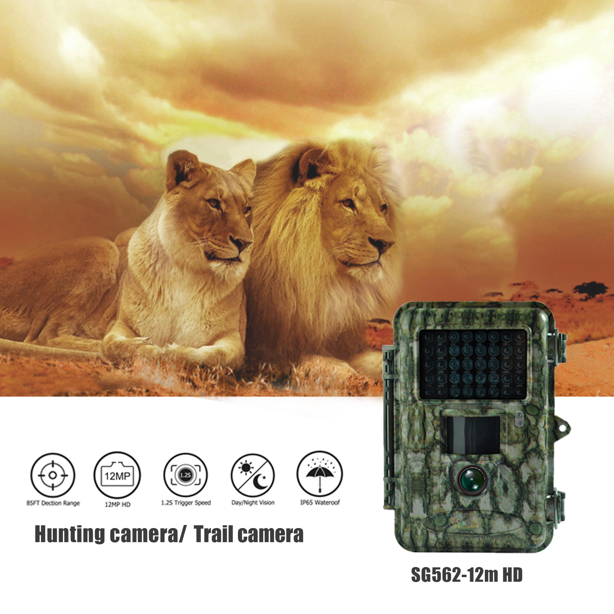 Bolyguard hunting camera 12MP 720P photo traps trail camera Black IR - Hunting