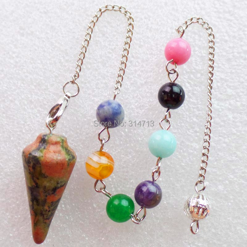 (Min.order 10$ mix)Wholesale 1 piese Unakite Stone 32X15MM Pendulum With 7pcs Mixed 8mm beads And The Chain length 250mm