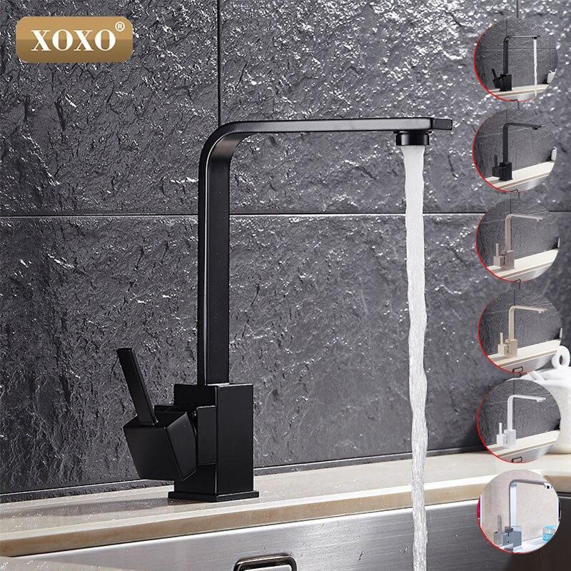 XOXO Бесплатная доставка полированный черный Латунь Поворотный Кухня раковины кран 360 градусов вращающийся Кухня смесителя 83030 H