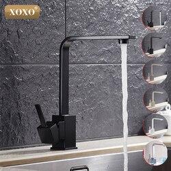 XOXO, бесплатная доставка, полированный черный латунный поворотный кухонный кран для раковины, кухонный смеситель с поворотом на 360 градусов, ...