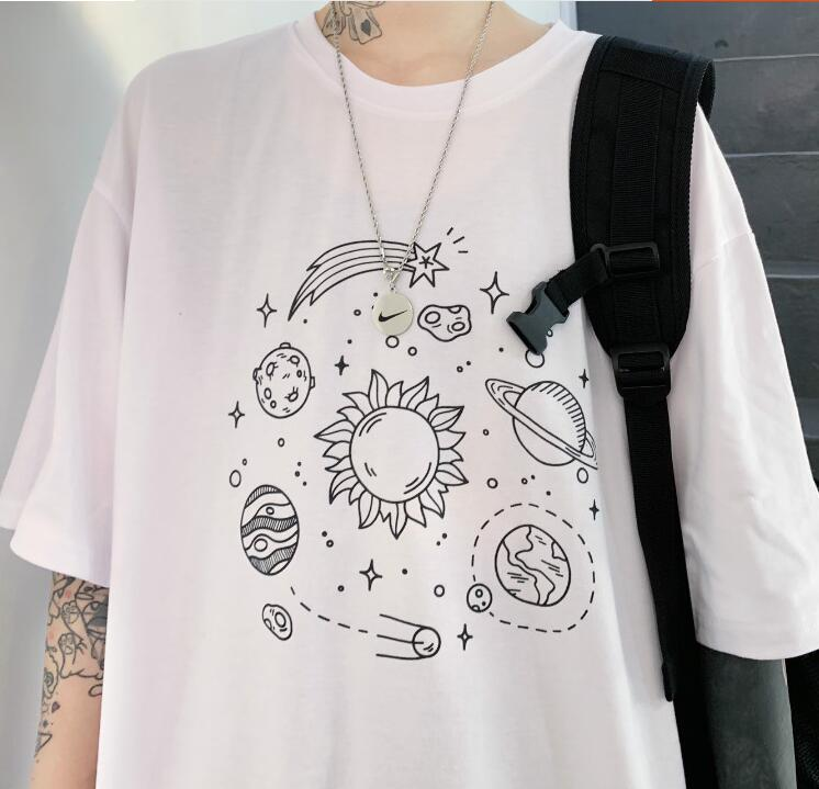 Summer new streetwear loose round neck short sleeve printing T-shirt