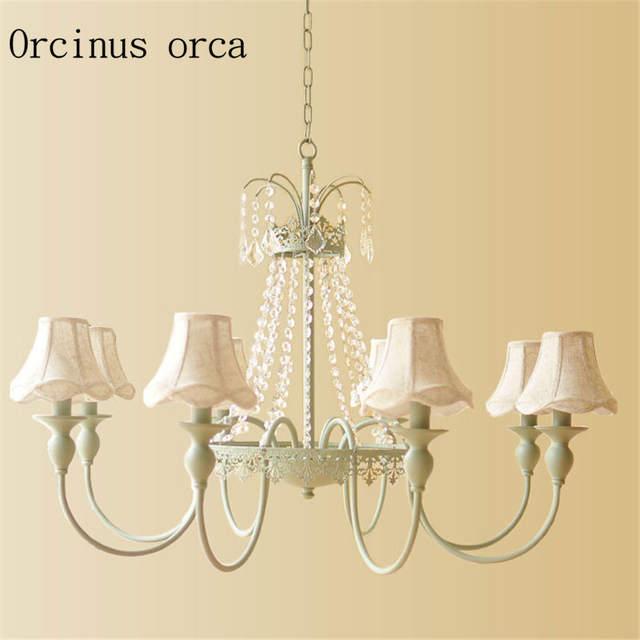 US $194 6 |Francese romantico pastorale lampadari di cristallo sala da  pranzo soggiorno camera da letto piccolo stile Europeo fresco del Pendente  Del