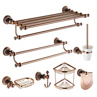 Rose Gold Steel Toilet Bath Hardware Hanger Set Package Antique Carved Polished Holder Shelf Hook Brush Bathroom Accessories Tk1