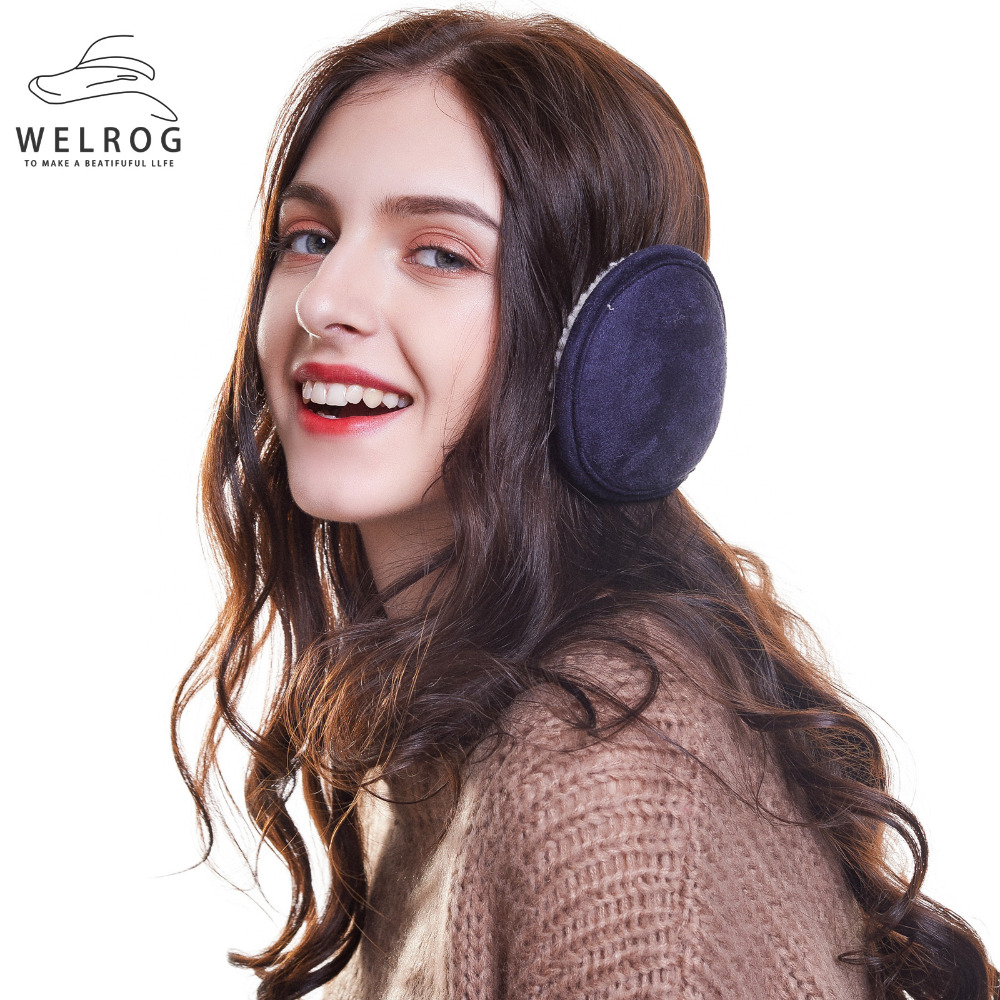 WELROG Thickened Winter Earmuffs Warm Outdoor Ear Muffs Suede Foldable New Solid Adjustable Earmuffs Ear Warmer For Men Women