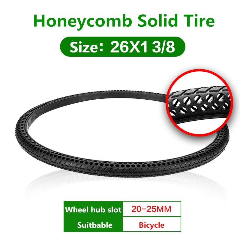 26*1 3/8 noir vtt solide engins fixes pneu de vélo de route 26x1 3/8 vélo pneu cyclisme Tubeless nid d'abeille solide pneu