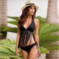 Women Bandeau Bikini Reversible Print Swimsuit Tassels Strappy Swimwear Print Swimsuits Brazilian Bikini Set