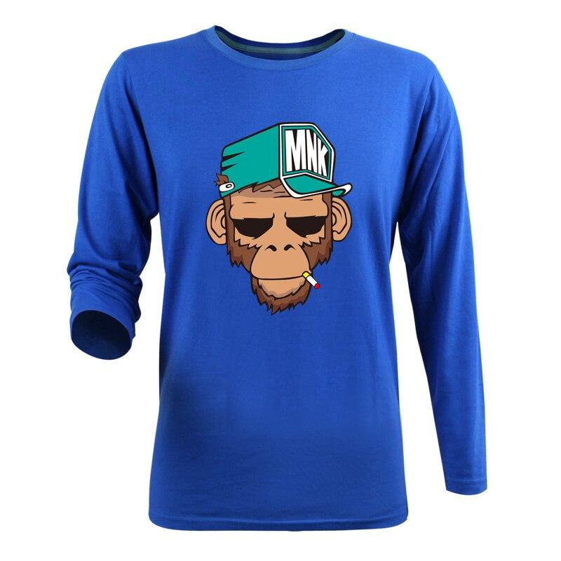 Горячая распродажа 2015 новинка осень стиль костюм символов верхняя одежда мультфильм обезьяна печать 3D с длинным рукавом футболки мужчины размер 3XL