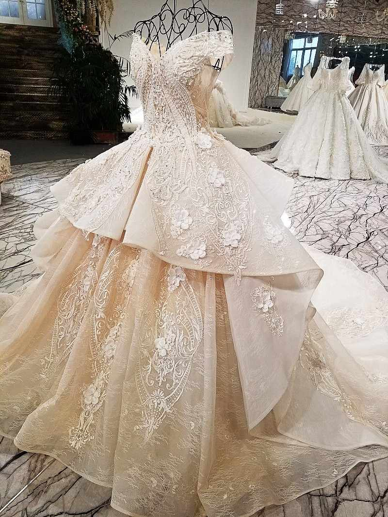ff0c949fd614 ... LS321003 2018 champagne off shoulder bridal gowns off custom size two  layers skirt big wedding dress ...