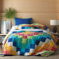 CHAUSUB Thick Cotton Bedspread Quilt Set 3PCS Rainbow Handmade Patchwork Quilted Quilts Bed Cover Pillowcase King Size Coverlet