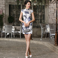 Pure Silk Women Cheongsam Summer Blue and White PorcelainSatin Chinese Traditional Dress Classic Chinese Style Spring Qipao 18