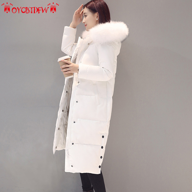 Winter Jacket Women   Down     Coat   Pure Color Mid-Long parkas Long sleeves Upscale Hooded parka Thicken Warm Lady Outerwear ll490