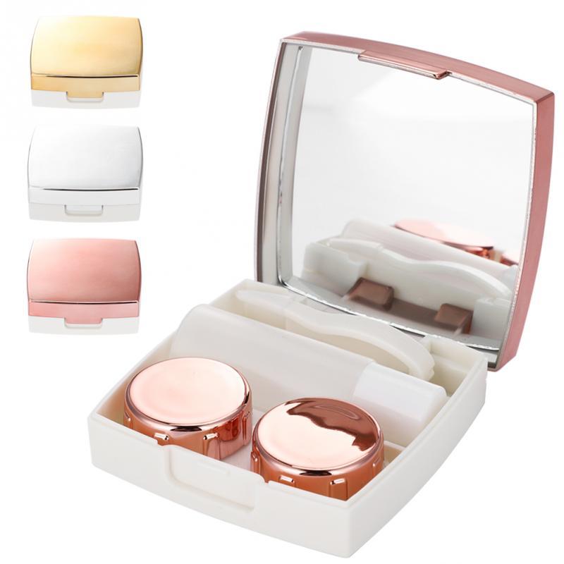 Schminkspiegel Schönheit & Gesundheit 3 Farben Make-up Spiegel Mini Kontaktlinsen Halter Eye Care Container Fall Tragbare Spiegel Box Exquisite Traditionelle Stickkunst