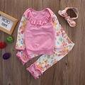 Niñas bebés 3 unids Conjunto Recién Nacido Bebé Girls Floral de Manga Larga Tapas de La Camiseta + Pantalones de Las Polainas + Diadema Bebé de Algodón trajes de Sistemas de la Ropa