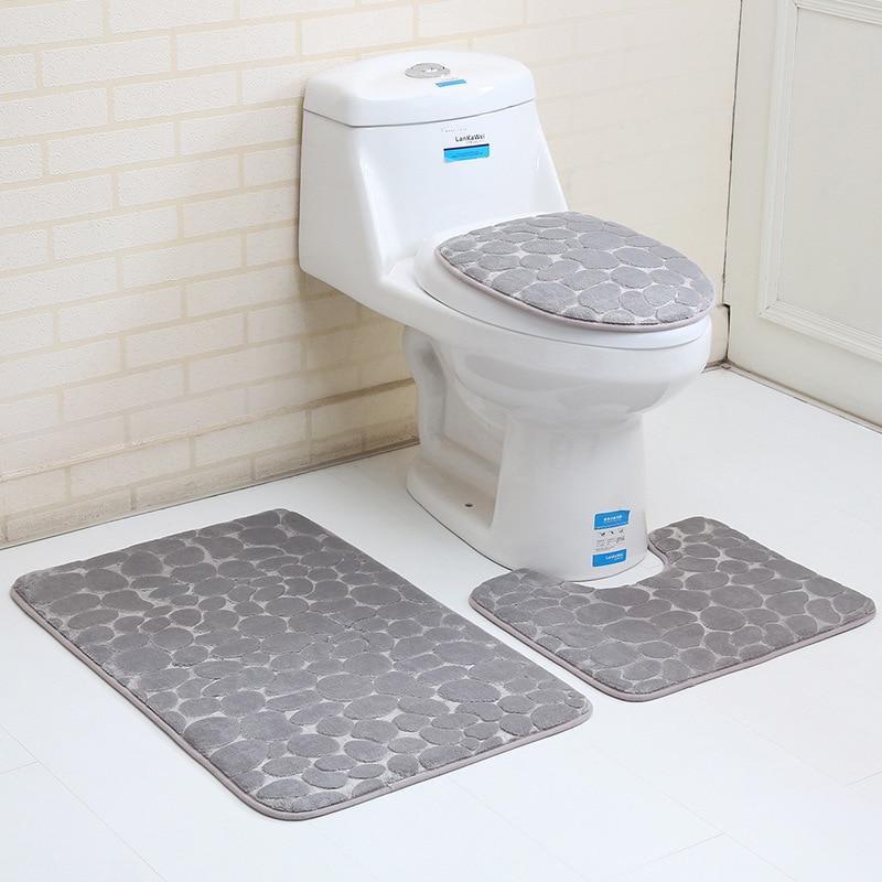 Toilet Mat Accessories 2pcs 3pcs Bath Mat Set India Decoration 50*80cm Floor Rugs for Home Decor Carpet Bathroom Blanket