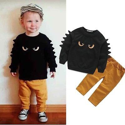 2016 Newest Hot-selling Cool Baby Boy Kid Long Sleeve Sweat Cartoon Monster Jumper Top T-shirt& Pants Outfit Set Clothes 1-6T