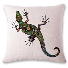 Tatuaje Animal de Algodón de lino Funda de Almohada Coche Gecko Elefantes de Color Fundas de cojines Para El Sofá Decorativo funda de Almohada de Impresión Digital