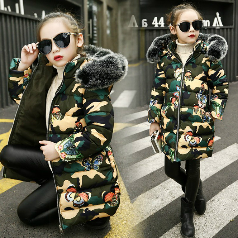 Girl Winter Jacket Children's Wear Cotton-padded Clothes Girls Camouflage Printed Thickening Clothes Kids Fashion Hooded Jacket