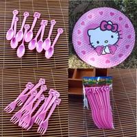 40 unids Conjunto Mi Lindo Hello Kitty Tema de Dibujos Animados PC Pastel Plato de Cuchara + tenedor + Cuchillo + Platos Favores del cumpleaños Decoración de La Placa