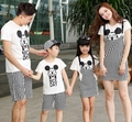 Free Shipping Summer Family outfits Cartoon striped Mickey Family sets t shirt+ pants sets