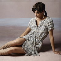 2018 осенние модные женские высокого класса качества твид тканые кружева Платье с кисточками с коротким рукавом мини юбка решетки пояса мини