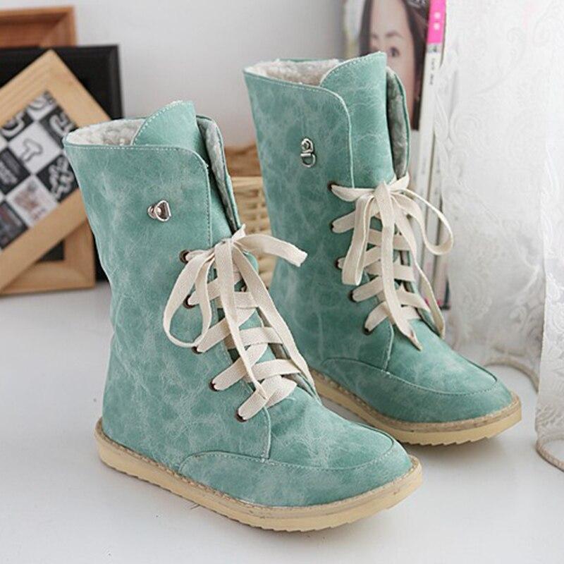 ФОТО Big size 34-43 Winter shoes Women boots Flat with warm shoes 4 color Black/Blue/Khaki/Pink Short Plush Rubber boots