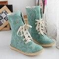 Big size 34-43 Winter shoes Women boots Flat with warm shoes 4 color Black/Blue/Khaki/Pink Short Plush Rubber boots