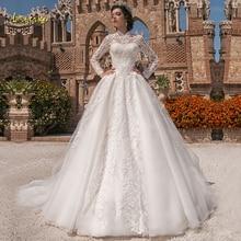 Loverxu 높은 목 공 가운 이슬람 웨딩 드레스 appliques 긴 소매 단추 신부 드레스 채플 기차 신부 가운 플러스 크기
