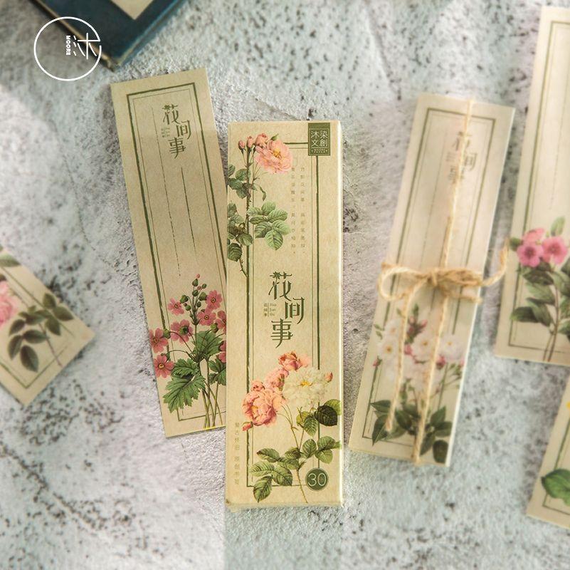 30 Pcs/Set Retro Plant Flower Paper Bookmark Cartoon Book Holder Message Card Gift Stationery