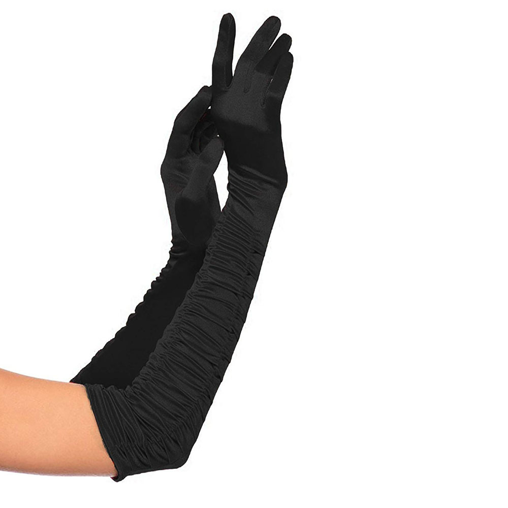 2Pair Long Opera Satin Gloves Finger Elbow Length Stretchy Gloves Adult Size Evening Party Prom Costume Accessories Gift